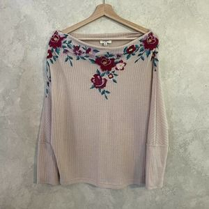 Umgee Cream Waffle Knit Embroidered Top Size Small